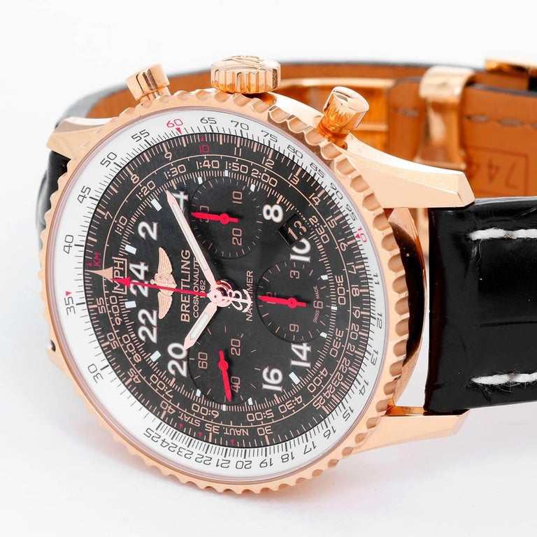 Breitling Navitimer Cosmonaute Rose Gold RB0210 -  Manual. 18K Rose Gold ( 43 mm ). Black dial with Arabic numerals; sub dials with red hands. Black Breitling alligator strap. Pre-owned with  Breitling box and papers. Limited edition 57 /250.
