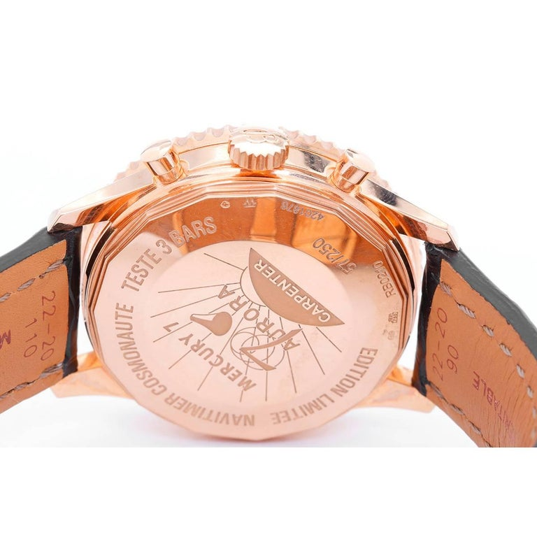 Men's Breitling Rose Gold Navitimer Cosmonaute Manual Wristwatch Ref RB0210