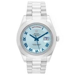 Rolex Platinum Day-Date II President Glacier Blue Dial Wristwatch Ref 218206