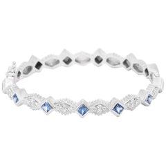 Doris Panos 18 Karat White Gold and Blue Sapphire Princess Bangle