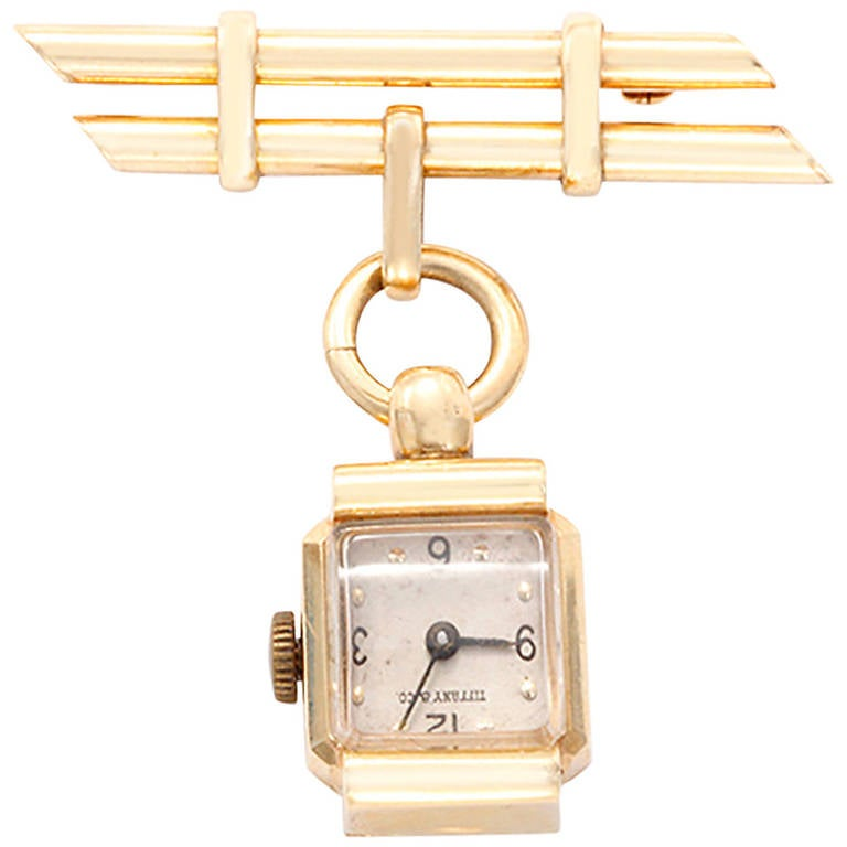 Tiffany & Co. Ladies Yellow Gold Brooch Watch, circa 1950s For Sale