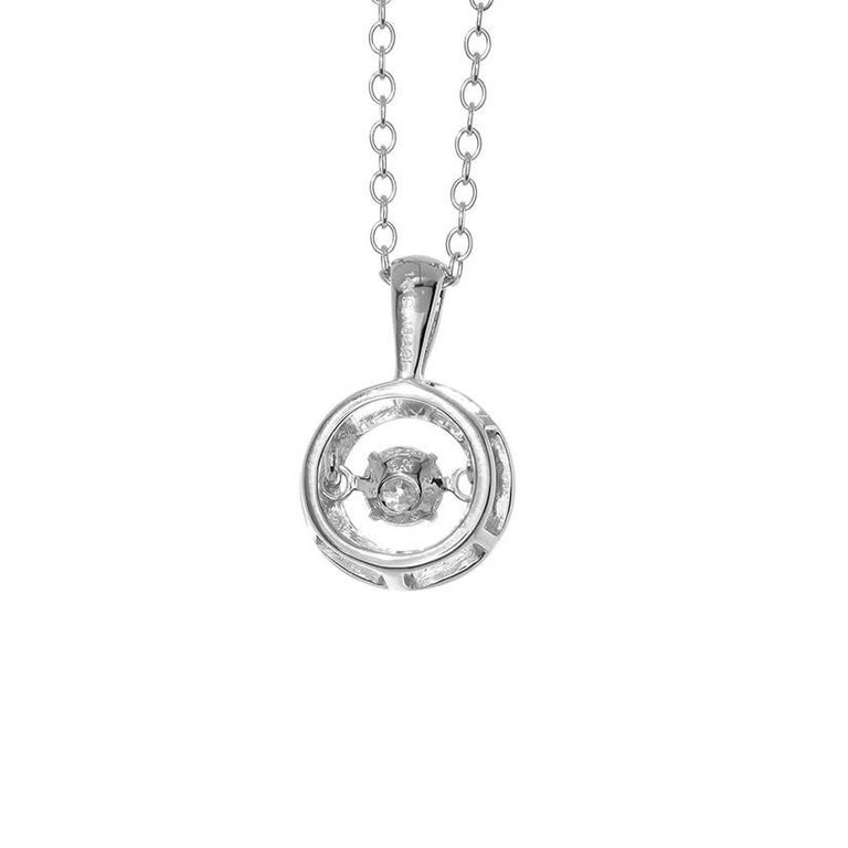 Charming 14k White Gold Dancing Diamond Necklace - This necklace features a  0.18 carat diamond in 14k white gold. The chain measures apx. 18 -20 inches in length. The round pendant measures apx. 3/8-inch in diameter and apx. 5/8-inch in length