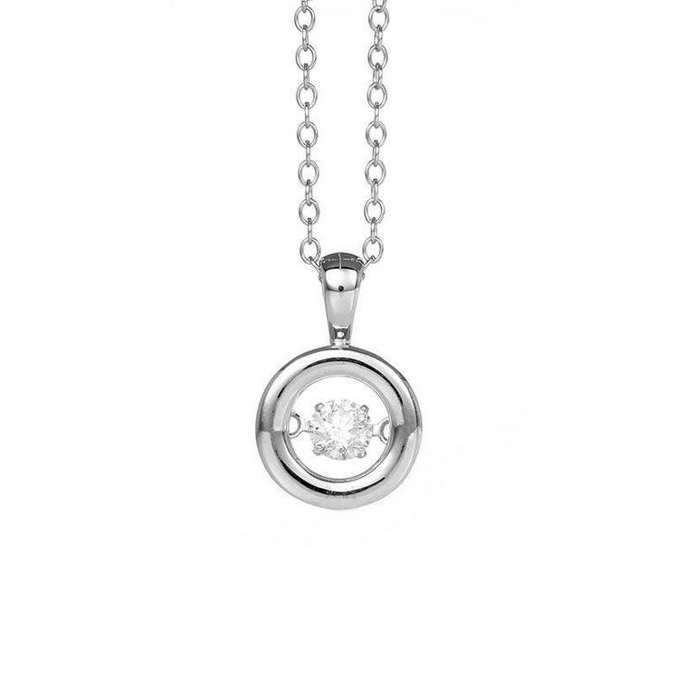 Charming 14 Karat White Gold Dancing Diamond Necklace For Sale