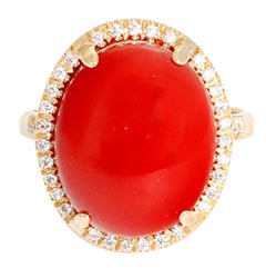 Beautiful Coral Diamond Gold Ring
