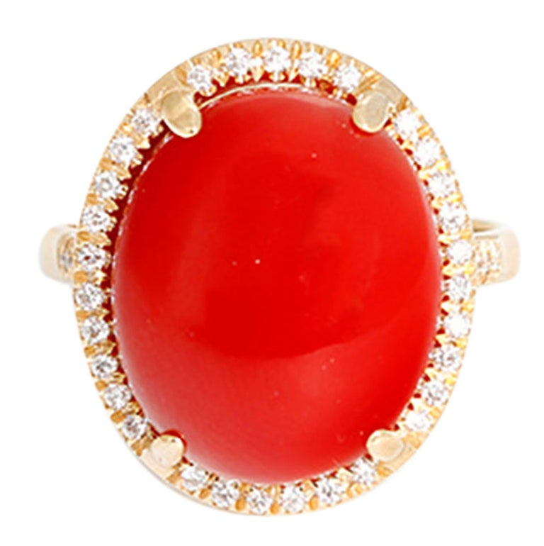 Beautiful Coral Diamond Gold Ring For Sale