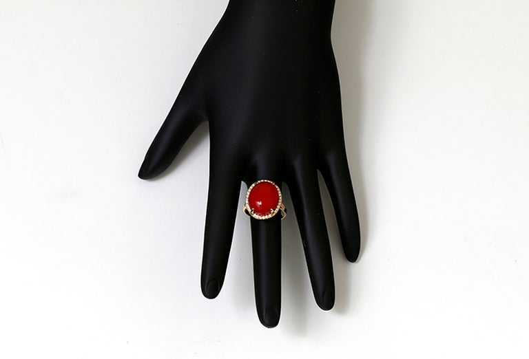 Women's Beautiful Coral Diamond Gold Ring For Sale