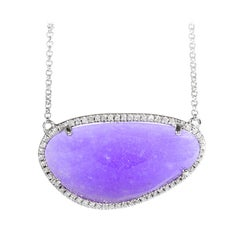 Amazing Lavender Jade Diamond Gold Necklace