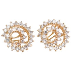 Stunning Swirl Diamond Gold Earrings