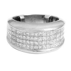 Sparkling Four-Row Diamond Gold Ring