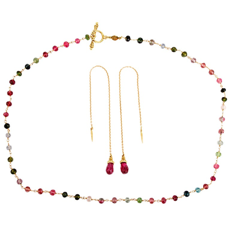 Cynthia Bach Tourmaline Necklace and Ear Pendant Set in Yellow Gold