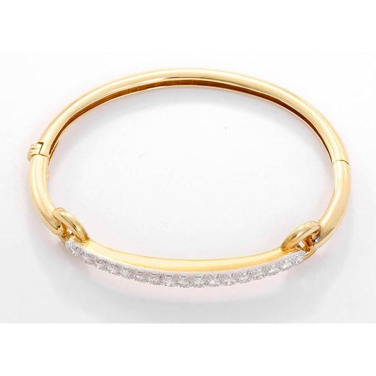 2ebaa61b638 Signed David Webb Ladies Diamond 18 Karat Gold and Platinum Bangle Bracelet  In Excellent Condition For