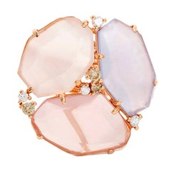 Beautiful Rose Multi-Color Sliced Sapphire Diamond Gold Ring