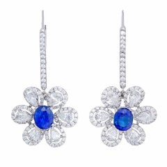 Amazing Sapphire Diamond Gold Flower Drop Earrings