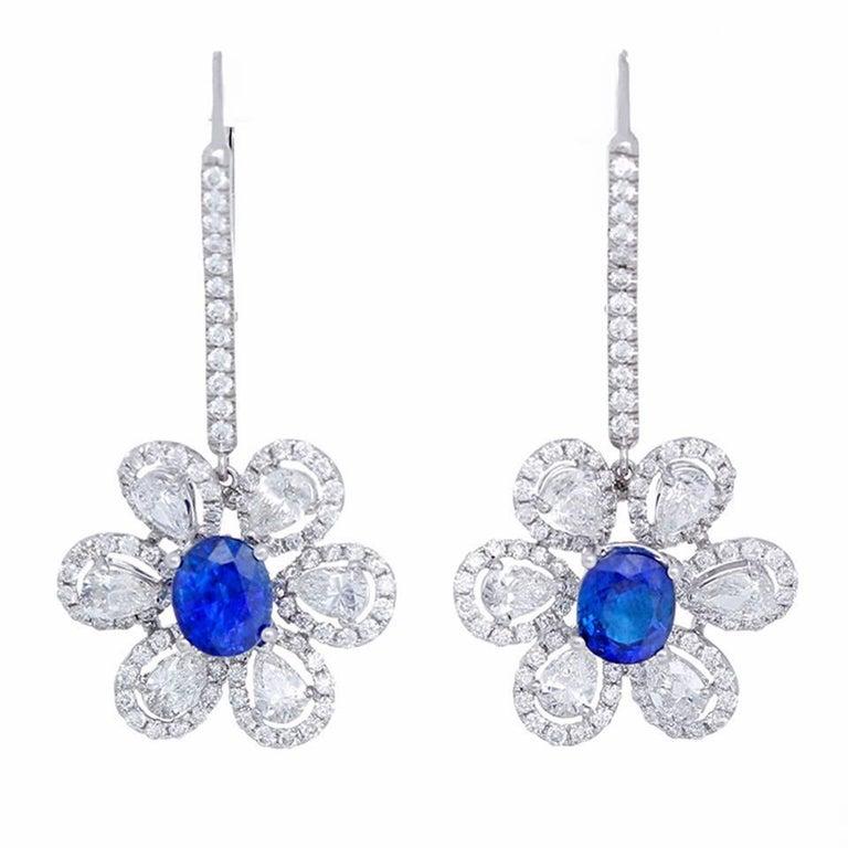 Amazing Sapphire Diamond Gold Flower Drop Earrings For Sale