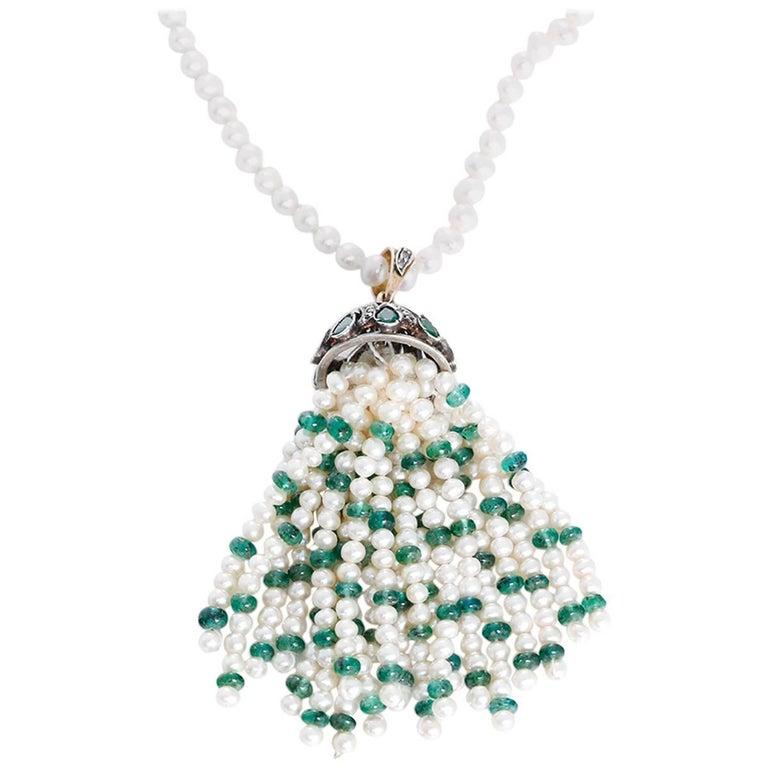 Amazing Pearl Emerald Diamond Silver Tassel Necklace For Sale