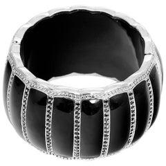 Miriam Salat Scallop Black Resin Black Topaz Cuff Bracelet