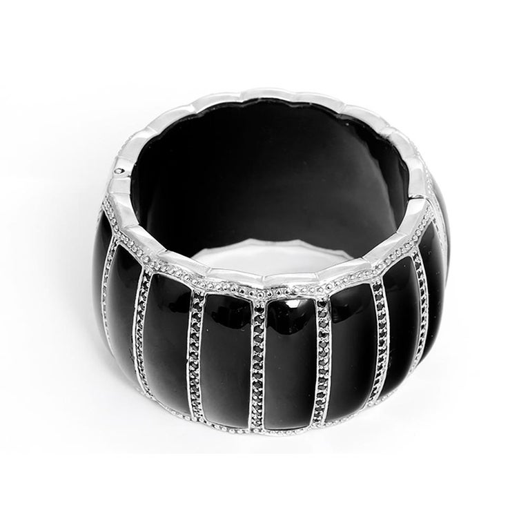 Miriam Salat Scallop Black Resin and Black Topaz Cuff - This amazing Miriam Salat black resin and sterling silver cuff bracelet features a scalloped design with bead set black topaz embellishments. Cuff measures apx. 6-1/2 inches in circumference