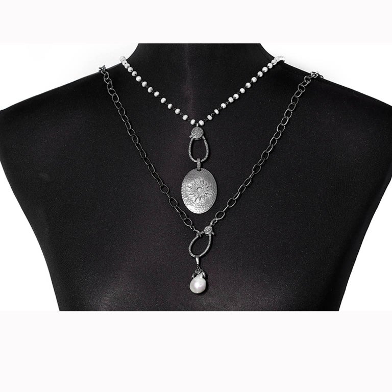 Stunning Sterling Silver, Diamond, Pearl, White Sapphire and Necklace Set - This stunning set features two necklaces that can also be worn individually. The longer necklace features a pearl, diamonds, set in oxidized sterling silver on a 35-inch