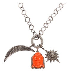 Bohemian Coral Buddha, Diamond Moon and Star, Pendant Necklace