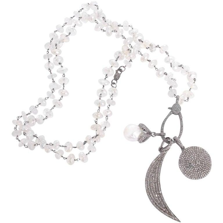 Boho Clear Quartz, Diamond, and Pearl Disc Moon Pendant Necklace For Sale