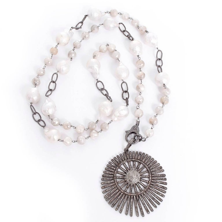 Bohemian Grey Moonstone, Freshwater Pearl, and Diamond Sunburst Pendant Necklace In New Condition For Sale In Dallas, TX