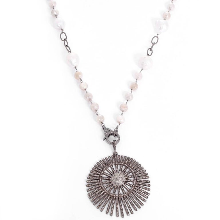 Women's Bohemian Grey Moonstone, Freshwater Pearl, and Diamond Sunburst Pendant Necklace For Sale