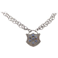 Blue Sapphire Diamond Oxidized Sterling Silver Padlock Necklace