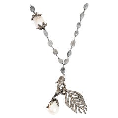 Bohemian Diamond Feather and Baroque Pearl Pendant Silver Necklace