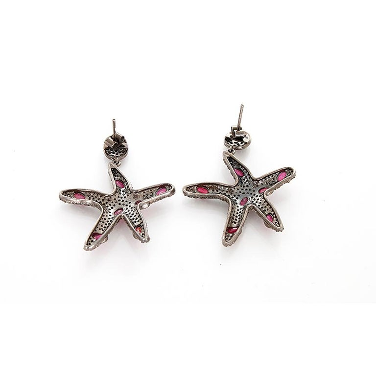 Women's Beautiful Sterling Silver, Diamond, and Ruby Earrings For Sale