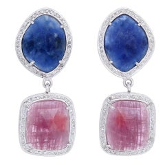 Bohemian Sapphire, Diamond, and Silver Earrings
