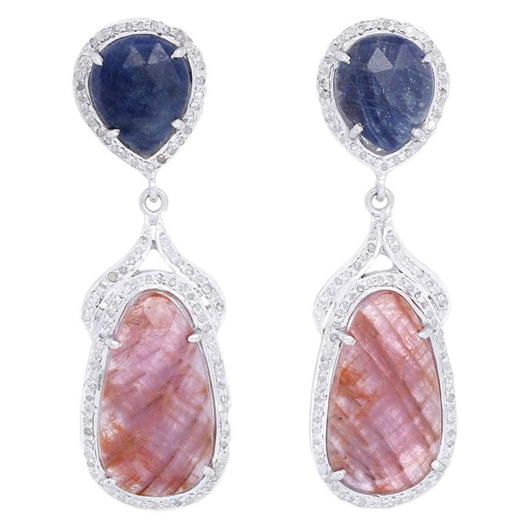 Amazing Natural Sapphire, Diamond, and Sterling Silver Earrings