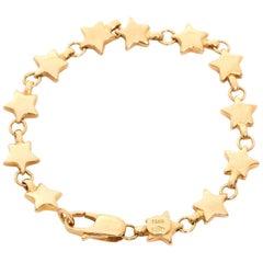Tiffany & Co. 18 Karat Yellow Gold Star Link Bracelet