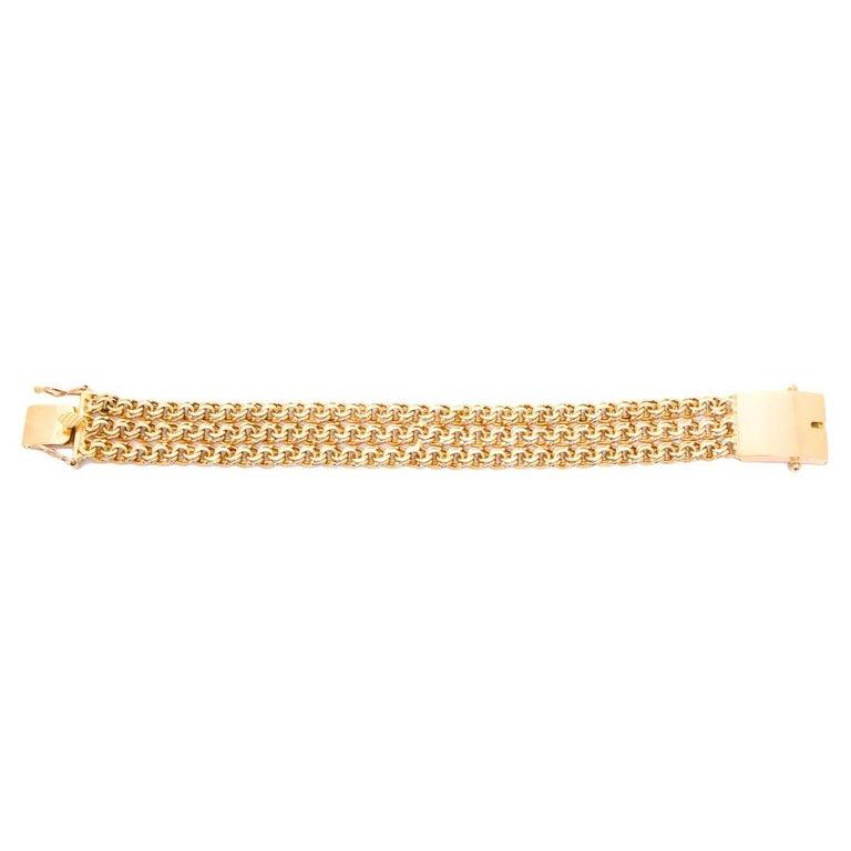 Yellow Gold Double Fancy Link Chain Bracelet