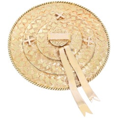 18 Karat Yellow Gold Hat Brooch