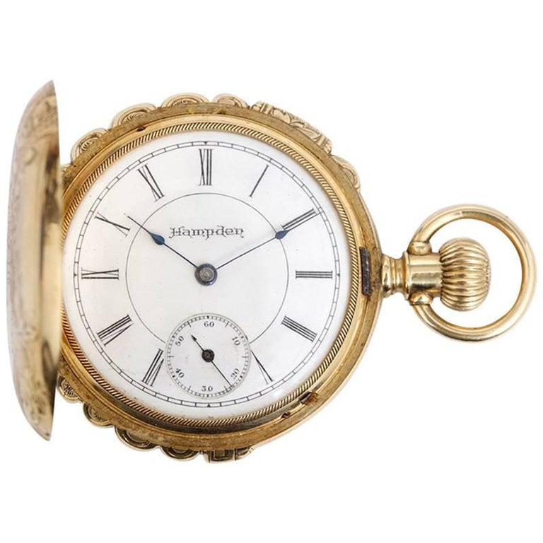 Hampden Yellow Gold Scalloped Case Manual Winding Pocket Watch For Sale