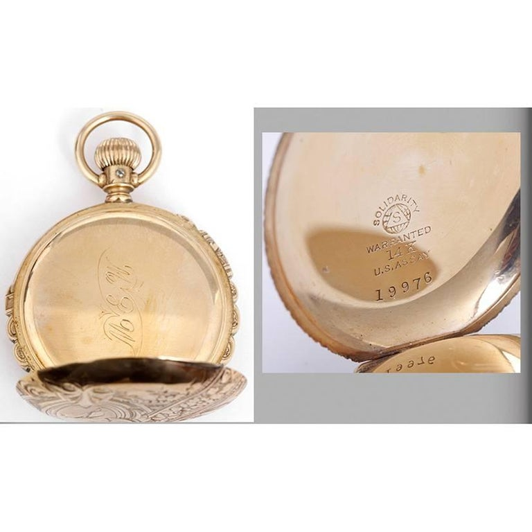 Hampden Yellow Gold Scalloped Case Manual Winding Pocket Watch In Excellent Condition For Sale In Dallas, TX