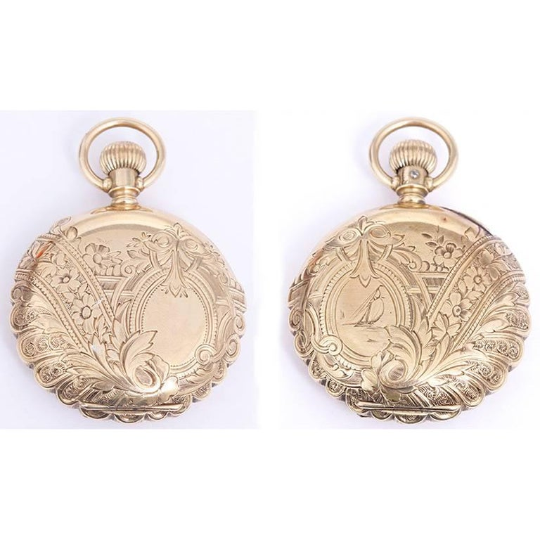 Women's Hampden Yellow Gold Scalloped Case Manual Winding Pocket Watch For Sale