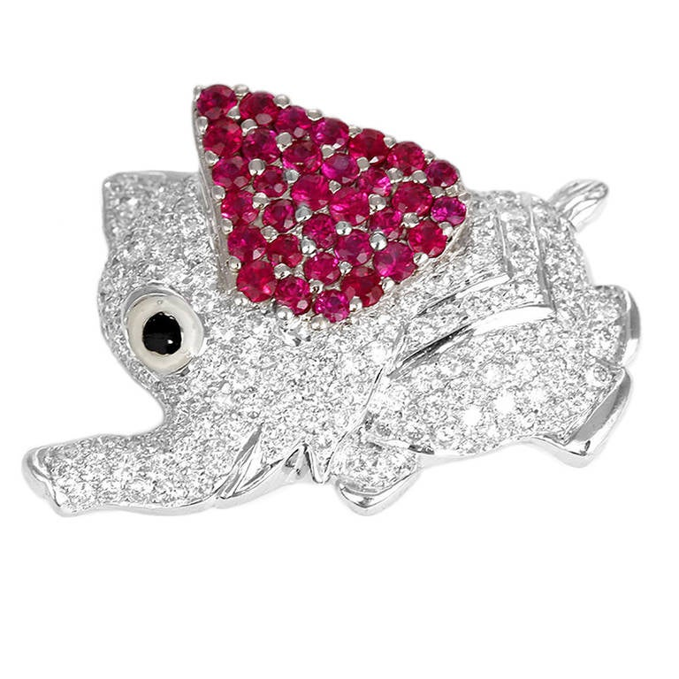 Adorable White Gold Diamond and Ruby Elephant Pin
