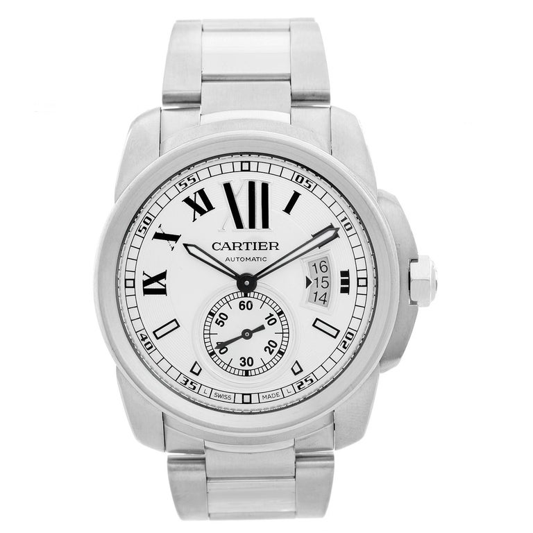 Cartier Stainless Steel Automatic Wristwatch Ref W7100015 For Sale