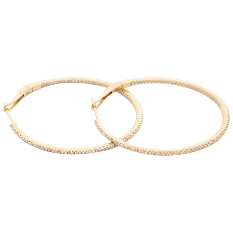 14 Karat Yellow Gold Round Inside Out Hoops In New Condition For Sale In Dallas, TX