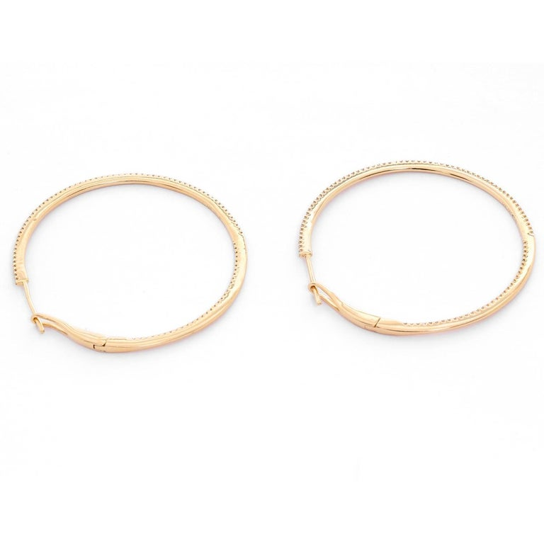 Women's 14 Karat Yellow Gold Round Inside Out Hoops For Sale