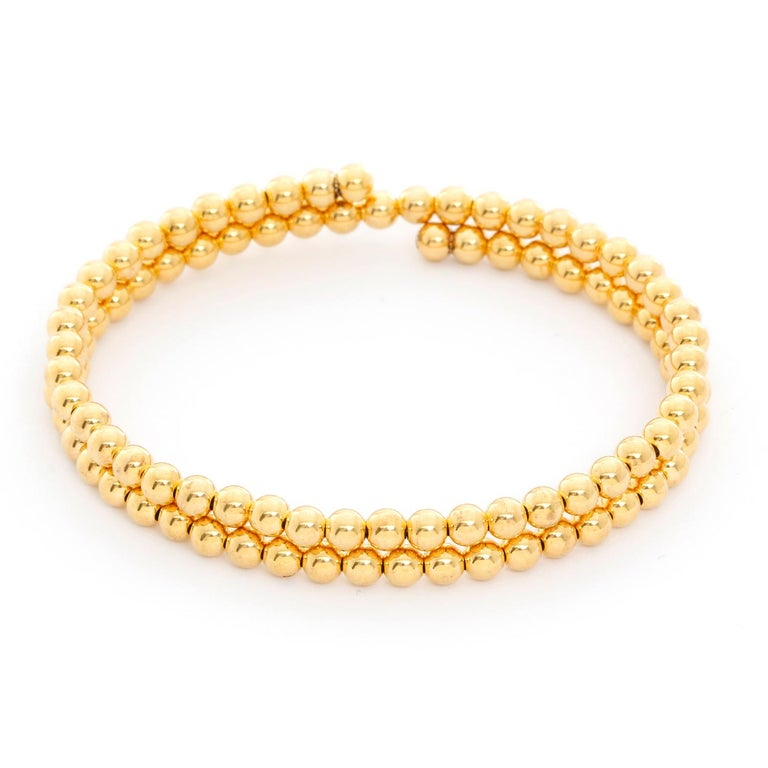 14 Karat Yellow Gold Beaded Double Strand Wrap Bracelet In New Condition For Sale In Dallas, TX
