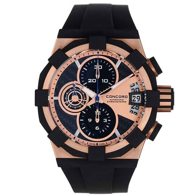 Concord Rose Gold C1 Sport Chronograph Automatic Wristwatch Ref 0320012 For Sale