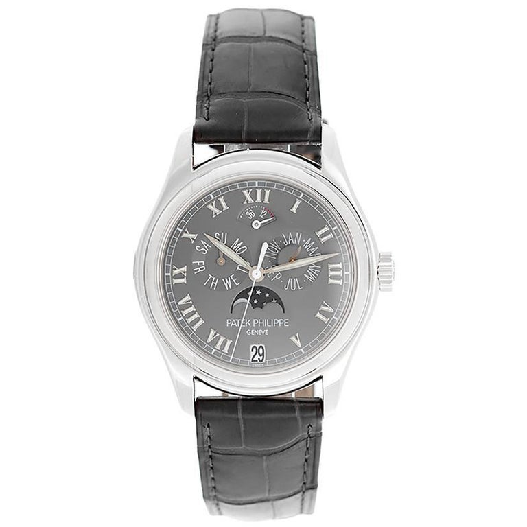 Patek Philippe Platinum Annual Moonphase Automatic Wristwatch 5056P or 5056-P For Sale