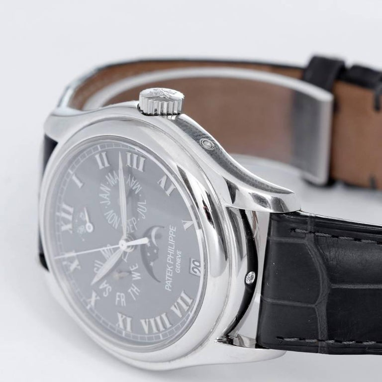 Patek Philippe Platinum Annual Moonphase Automatic Wristwatch 5056P or 5056-P In Excellent Condition For Sale In Dallas, TX