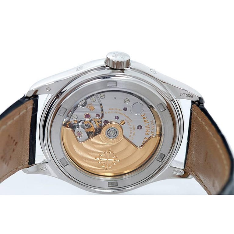 Women's or Men's Patek Philippe Platinum Annual Moonphase Automatic Wristwatch 5056P or 5056-P For Sale