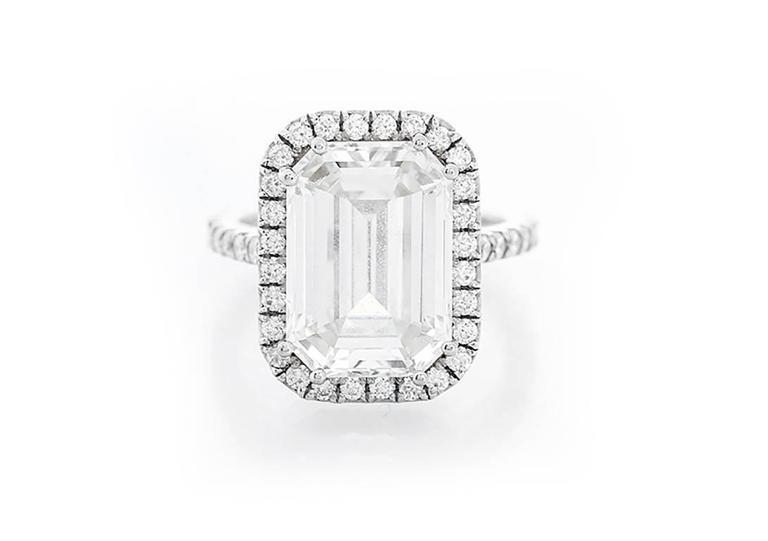 Amazing 7.45 ct. Emerald Cut GIA Diamond White Gold Wedding Ring 2