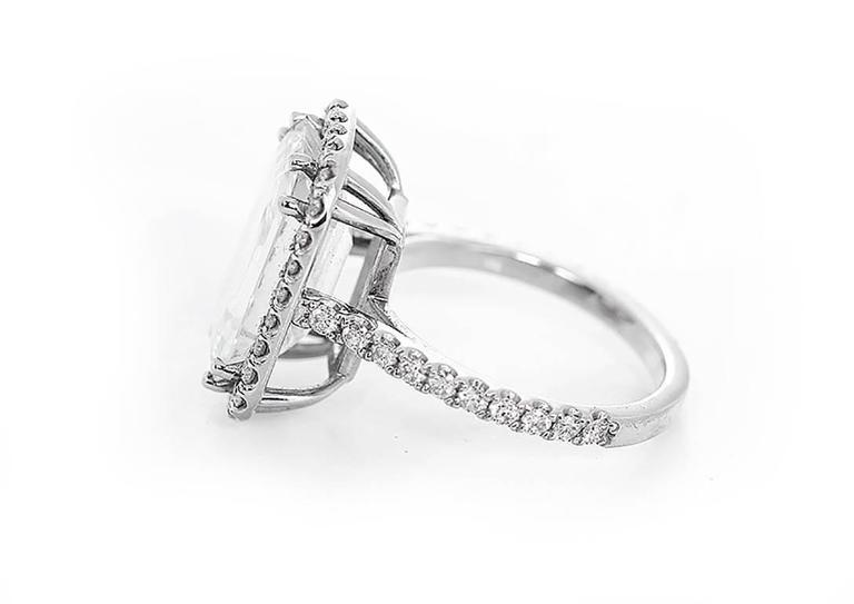 Amazing 7.45 ct. Emerald Cut GIA Diamond White Gold Wedding Ring 4