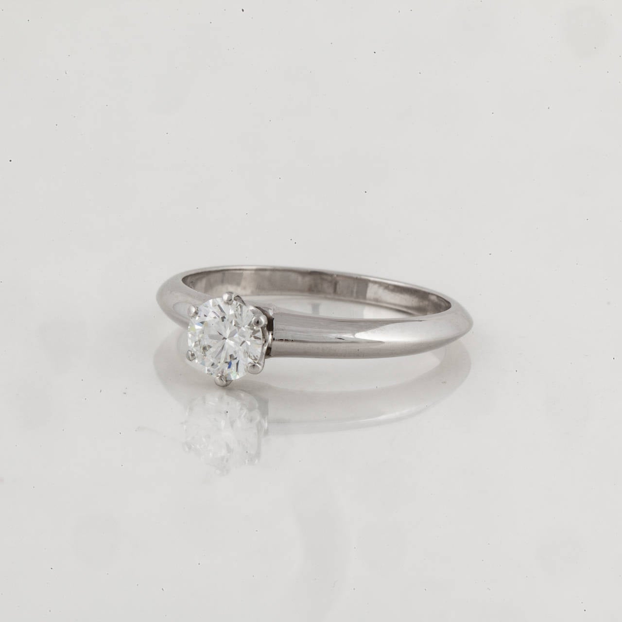 Tiffany & Co. Diamond Platinum Solitare Ring 2