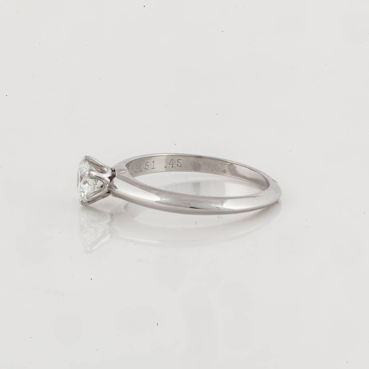 Tiffany & Co. Diamond Platinum Solitare Ring 3